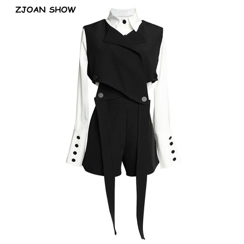 2019 Women 2pcs 1 Set High Street Black Bandage Vest White Shirt Dress High Waist Shorts Cool Girl Loose Blouse 3 Pieces 1 Set