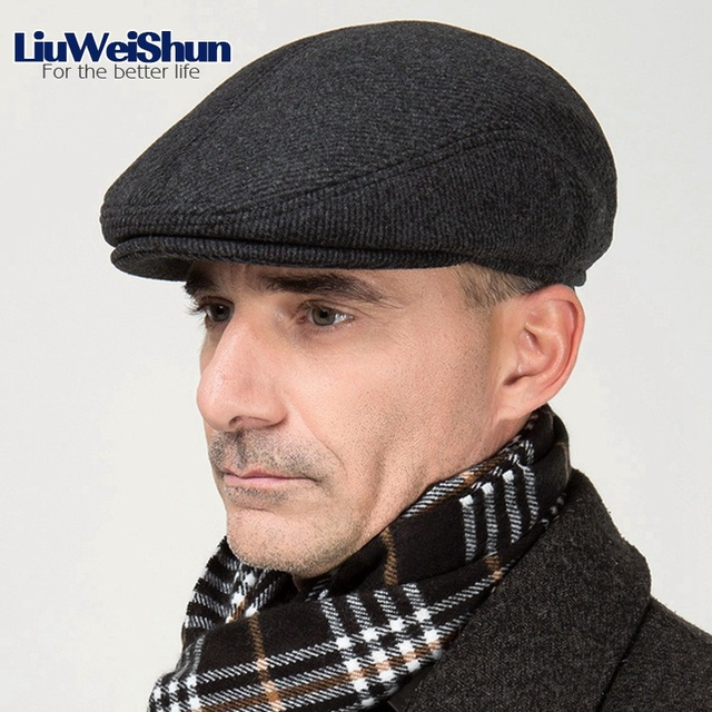 20d775ae121 Winter Wool Male Beret Cap Hats With Earflap For Men