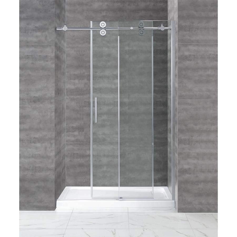5ft Chrome Rectangle 90 Degre Bypass Frameless Sliding Glass Shower