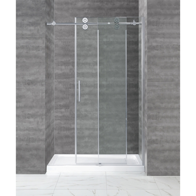 66ft chrome polished bypass frameless sliding glass shower door 66ft chrome polished bypass frameless sliding glass shower door track twin roller barn shower door planetlyrics Images