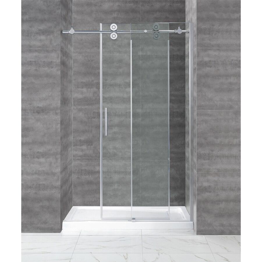 ft cromo pulido bypass granero correderas de cristal sin marco puerta de la ducha de
