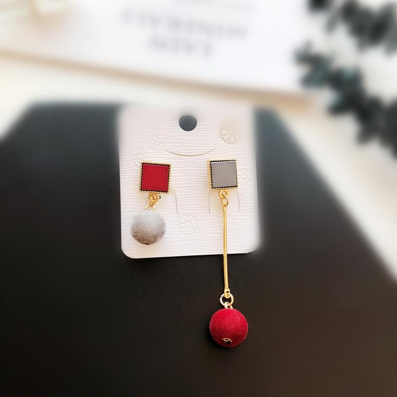 Ajojewel Simple Acrylic Geometric Earrings Women Velvet Ball Asymmetrical Earrings Jewellery Wholesale 8