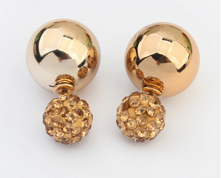 035170578 2017 Newest Fashion Gold Silver Plated Two Side Double Ball Pearls Stud  Earrings For Women Fine Jewelry brincos