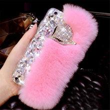 Luxury Rabbit Fur Hair Phone Cases For Huawei P9 P10 P20 P30 PLUS LiTE