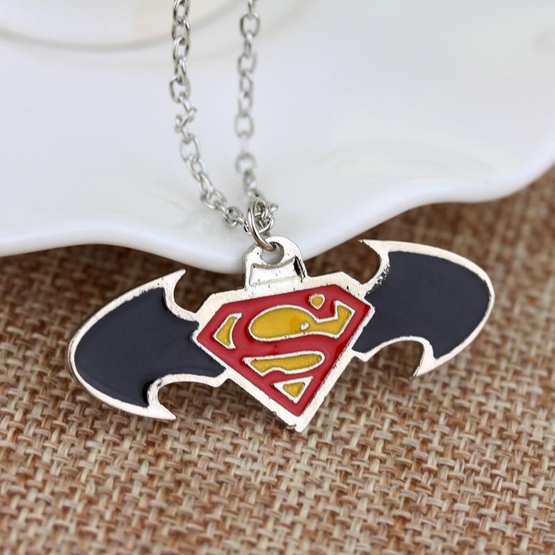 Movie Jewelry Superhero Batman Superman Symbol Pendant Necklace