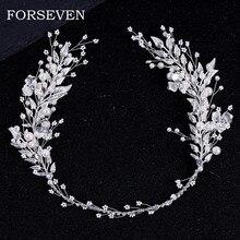 Diadema de perlas y hojas de Color plateado para novia, accesorios para el cabello, banda de boda para el pelo, diademas de perlas de cristal y novias