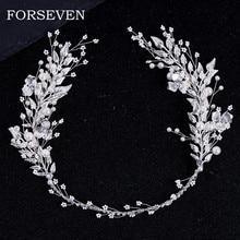 Kolor srebrny liść perła z pałąkiem na głowę Tiara na ślubne akcesoria do włosów ślubna opaska do włosów Crystal Pearl tiary i Brides stroiki
