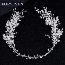 Silber Farbe Blatt Perle Stirnband Tiara Für Braut Haar Zubehör Hochzeit Haar Band Kristall Perle Tiaras und Bräute Kopfschmuck