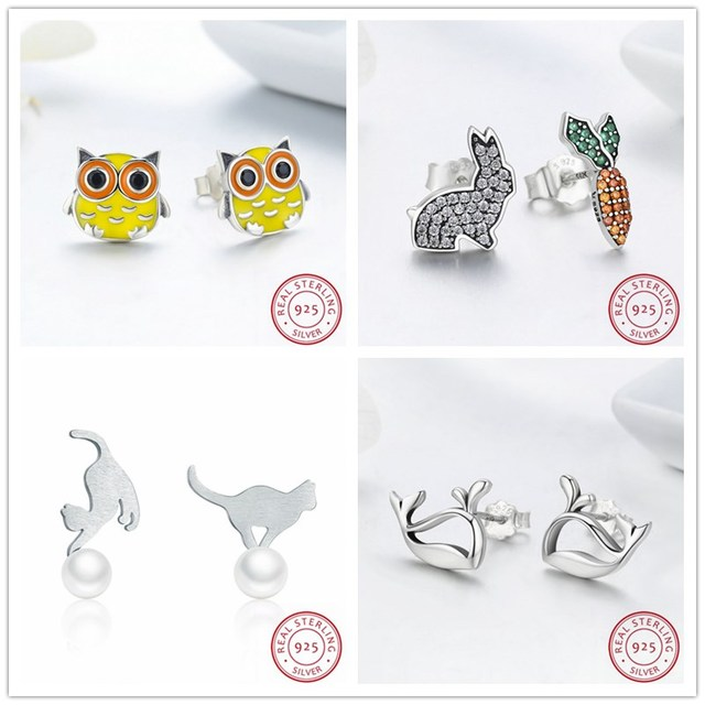 New Promotion! Wholesale 925 Sterling Silver Earrings, Fashion Silver Jewelry Lovely Animal Design,Rabbit Carrot,Whale,Cat,Owl