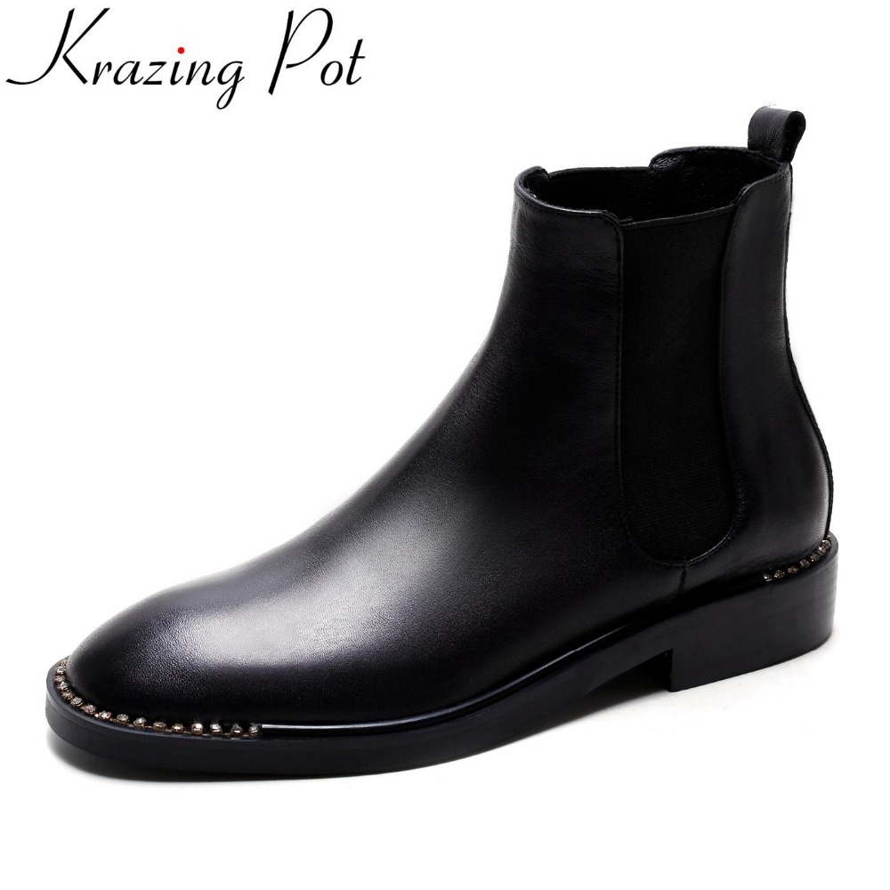 Krazing Pot genuine leather round toe crystal fashion boots thick heel Chelsea boots runway winter slip on women ankle boots L88 krazing pot big szie cow suede slip on thick heel tassel bowtie winter pointed toe fashion superstar runway ankle boots l5f1
