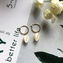 Gold Color Shell Pendant Circle Hoop Earrings For Women Handmade Round Statement Earring Bohemia Fashion Jewelry A476(China)