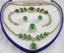 Plated Inlay Green gem Necklace Bracelet Ring Earring set AAA Quartz Fine  Plated  Bridal wide watch wings queen