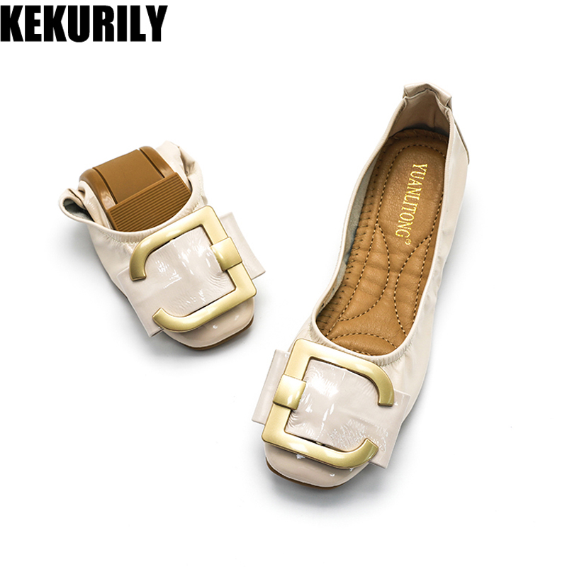 Shoes Woman Metal buckle boat Shoes Patent leather Slip on Loafers Battle Flats Square toe Slides Red Black Beige Brown nude fashion luxury rhinestone square buckle pointy toe black red nude color patent leather flats shoe for women discount hot selling