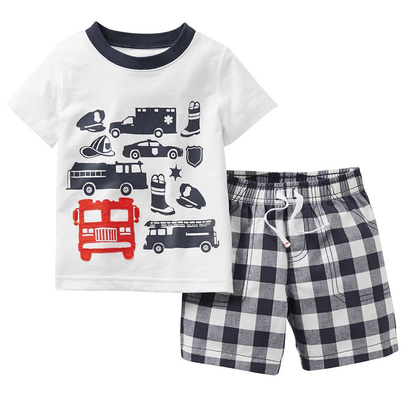 Boys' Clothing Clothing Sets Kids Boys Sets Summer Boys Sets Clothes T Shirt+short Pants Cotton Sports Fire Truck Printed Set Children Suit For 1-7t Elegant In Style