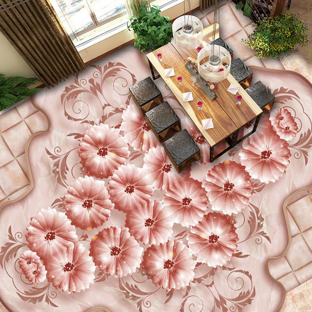 Beautiful Flower Wallpaper 3D Roses Floor Wallpaper Living Room Self ...