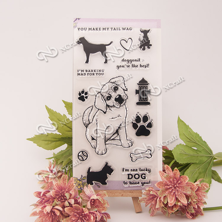 1 Sheet dog Transparent Clear Silicone Stamps for DIY Scrapbooking/Card Making/Kids Fun Decoration Supplies Flower kscraft butterfly and insects transparent clear silicone stamps for diy scrapbooking card making kids fun decoration supplies