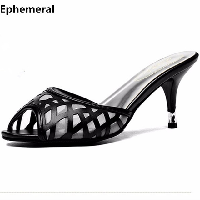 Lady's Plus size EU42 43 Air Mesh Thin High Heels Sandal Sexy Summer Peep Toe Shoes Women Pumps Slides Flip flops Silver Black