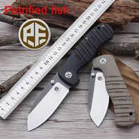 Versteinertes fisch PF714 Camping Messer 60HRC AUS 8 Klinge Lager Folding Messer G10 Griff Jagd Messer Tasche Messer Freies Verschiffen