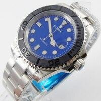 Bliger 40mm blau zifferblatt datum Keramik Lünette saphire glas Automatische bewegung herrenuhr-in Mechanische Uhren aus Uhren bei