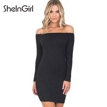 Sheingirl Сексуальная с плеча bodycon платье женская одежда элегантный вязаный мини Vestido тощие Краткие женские летнее платье