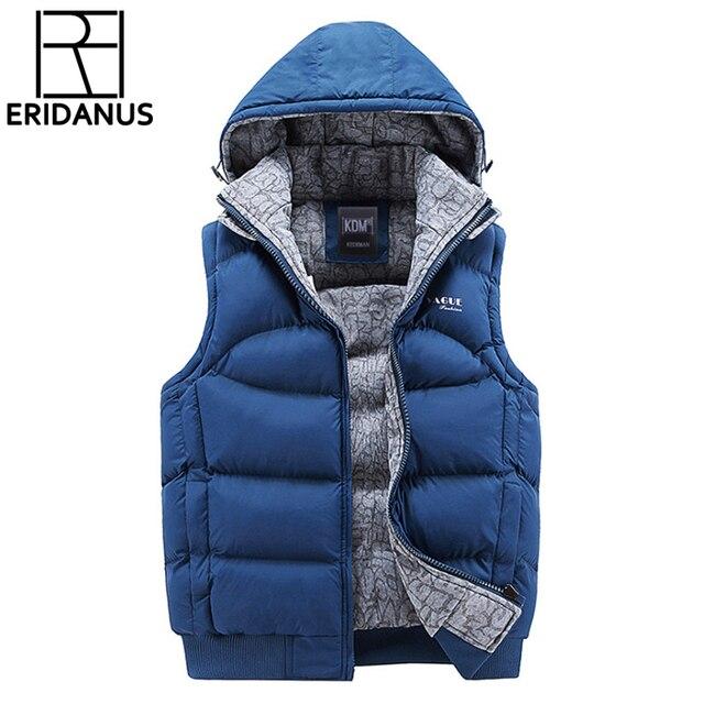 Chaqueta para hombre sin mangas Chalecos invierno nueva moda casual Abrigos  marca con capucha de algodón 79c571c4412f
