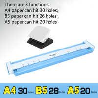 3 tipi di funzioni, carta A4 può colpire 30 fori, B5 carta può colpire 26 fori, A5 carta può colpire 20 fori, macchina del punzone