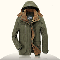Brand Parka Men AFS JEEP Winter Jacket Men Warm Thick Fleece Outdoor Cotton Padded Jacket Mens