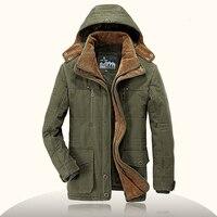 Brand Parka Men AFS JEEP Winter Jacket Men Warm Thick Fleece Outdoor Cotton Padded Jacket Mens