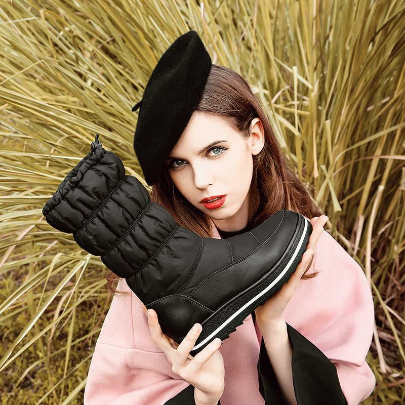 Kadın Kış Kar Botları PU deri aşırı diz uyluk düz platformu uzun çizmeler siyah kalın kürk Botları kadın 2019 ayakkabı
