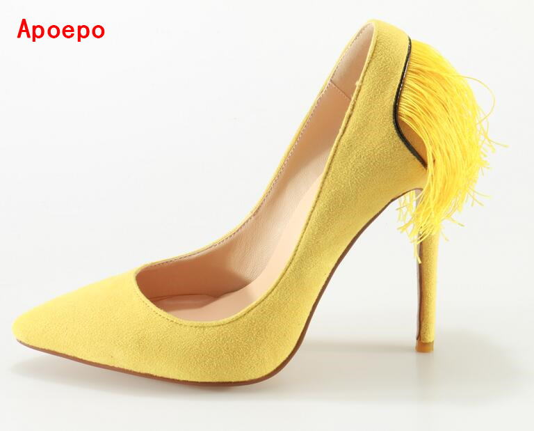 Suede Fringe High Heel Shoes Yellow Pointed Toe Slip-on Women Pumps Back Tassel Stiletto heels Sexy Shoes OEM Accept 2017 shoes women med heels tassel slip on women pumps solid round toe high quality loafers preppy style lady casual shoes 17