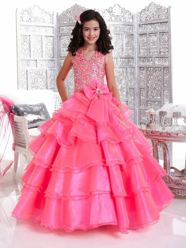 2014 Princess Ball Gown Halter Pink Party Dresses For Girls Of 7 ...