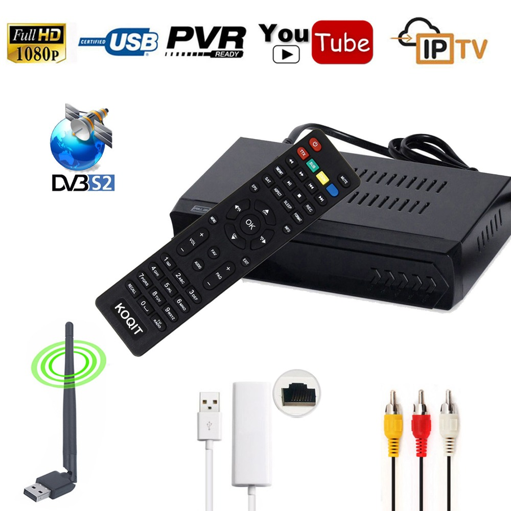 Koqit DVB-S2 Digital Satellite Receptor FTA Receiver IPTV m3u Combo HD TV Tuner Media Player RJ45 Lan WIFI IKS CS Biss vu CCCAM