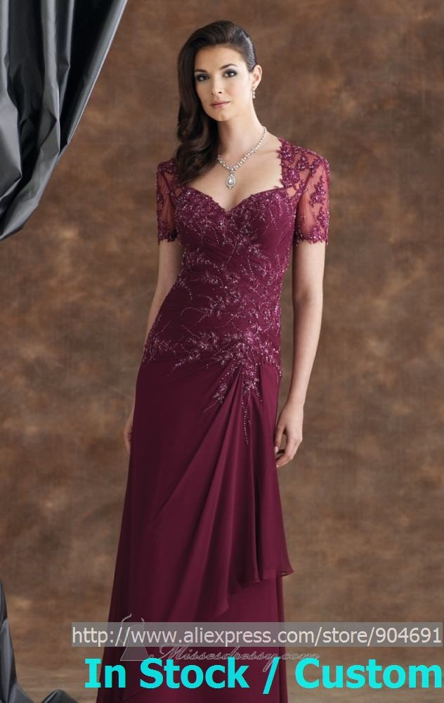 Burgundy Lace Short Sleeves Mother Of The Bride Dress Red