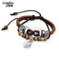 Gratis verzending Fashion punk touw armband, 316L stainessstaal, leaf, Dubbele touwen armband, vintage oude vrouwelijke & mannelijke Liefhebbers gift