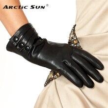Brand Genuine Leather Gloves High Quality  Women  Sheepskin Gloves Fashion Trend Winter Plus Velvet Finger Driving Glove L003NC