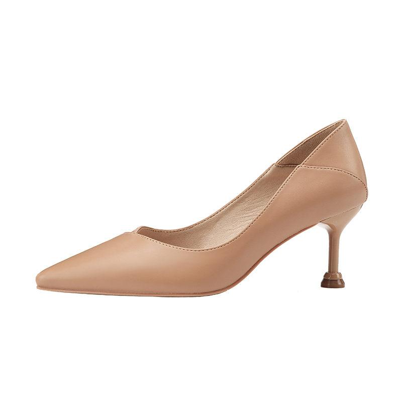 Office Lady Pumps High Heels Shoes for Women Leather 6.5 Cm Female Heels Dress Shoe Black Apricot Pink Brown Shallow Pump Woman