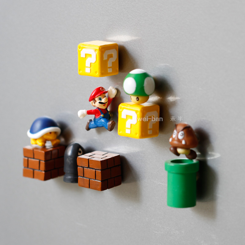 10pcs Super Mario Bros Magnets Figure Toys Mario Bullet Mushroom Tortoise Creative Magnetic Stickers Refrigerator Action Figure