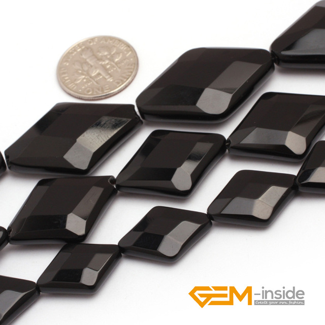 Rhombus Faceted Black Agate Beads Natural Stone Bead DIY For Jewelry Making Strand 15 inches Wholesale