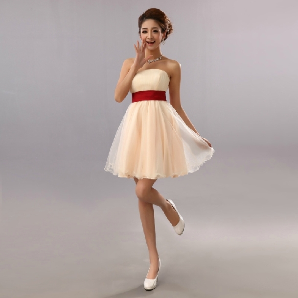 robe mariage simple bridal princess strapless champagne dress short teen  off shoulder dresses for teen girls free shipping B1239 6024bc8849c1