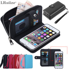 LRuiize Women man PU Leather Zipper Handbag Wallet Purse with Card Slot Phone Case Cover For Apple iphone 7 6S/Plus 5S 5C 4S