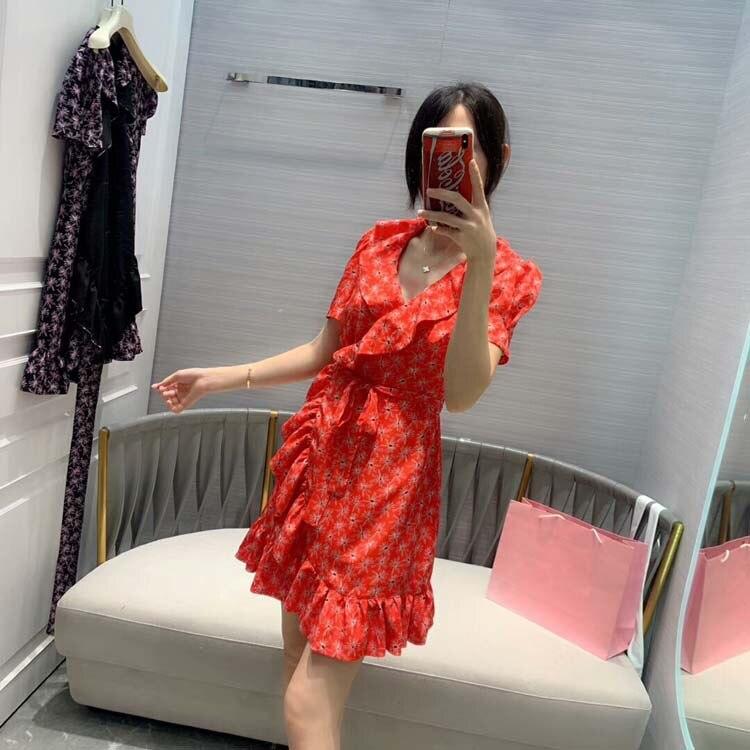 De moda de las mujeres 2019 de impresión de manga corta vestidos 2 colores at190177-in Vestidos from Ropa de mujer    1