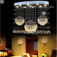Modern Europe LED oval chandelier lamps crystal lamps restaurant lights hanging wire lamps living room lights free delivery