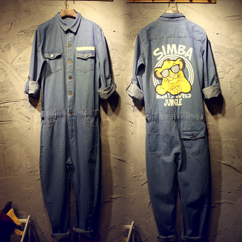 2016 spring&autumn Men&womens simba jumpsuits overalls jeans fashion denim work clothes cargo pants casual worker pants trousers