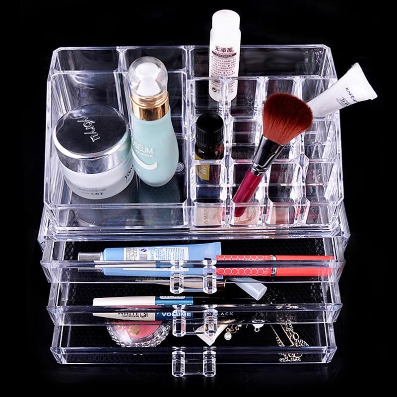 Makeup Case PS Plastic Cosmetics Storage Boxes Transparent 3 Drawers Home Storage Box Makeup Organizer 240x140x190mm