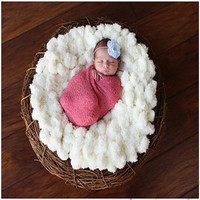 New Arrival Woolen baby photography props Newborn Photography Wraps Handmade Flower Headband Baby Photo props Accessories