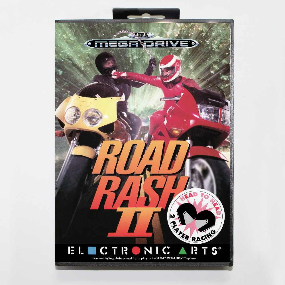 Road Rash 2 Game Cartridge 16 bit MD Game Card With Retail Box For Sega Mega Drive For Genesis
