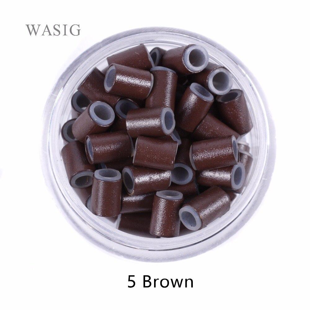 Tubos de Cobre de Silicone Anéis de Loop Beads para Extensões de Cabelo Marrom Forrado Cabelo Microlinks Humano Ferramentas Tranças 5 500 Pcs 4.5mm