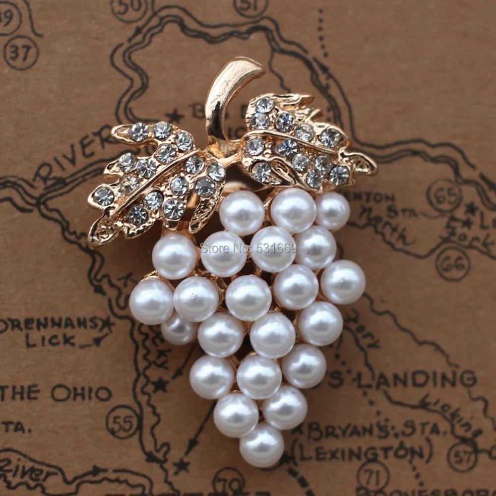 Druer Broche Guld-farve Imitation Pearl Broche Rhinestone Til Bryllup - Mode smykker - Foto 2