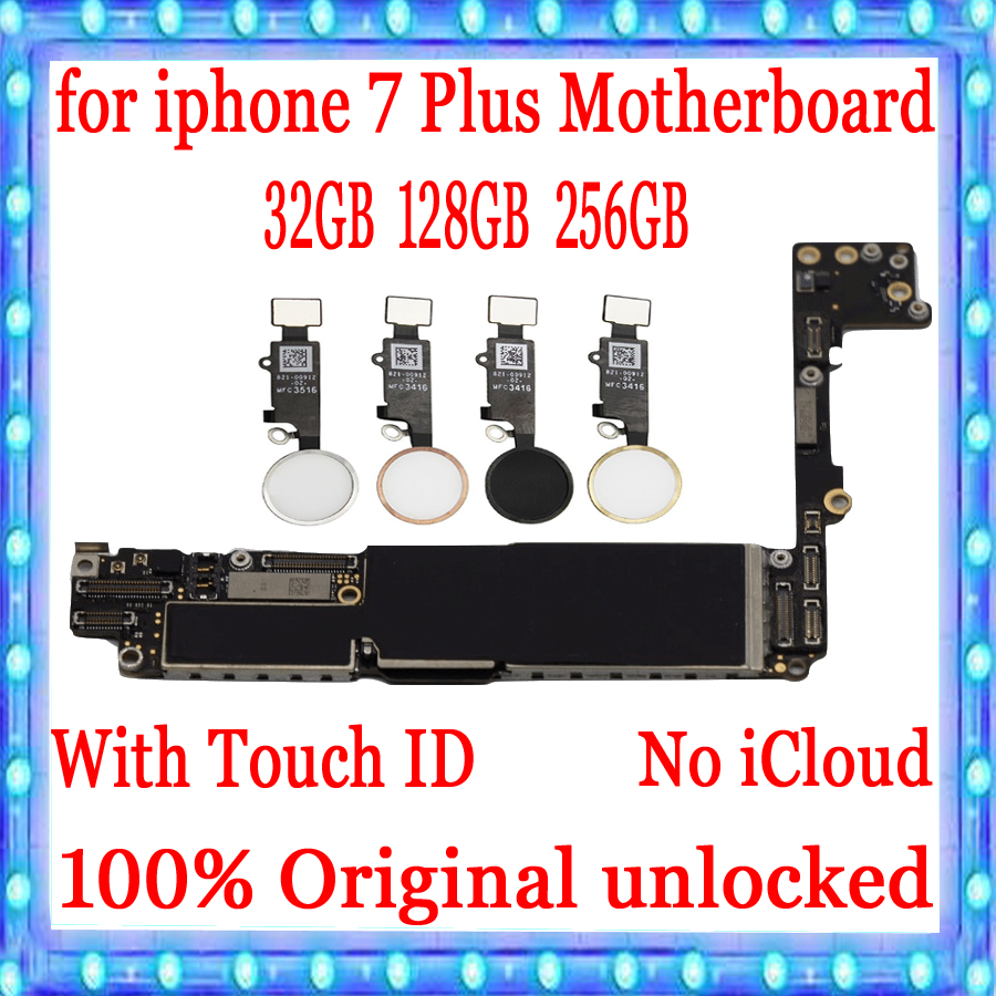 For iphone 7 Plus Motherboard with Touch ID/Without Touch ID Original unlocked for iphone 7 Plus Mainboard for iphone 7P PlateFor iphone 7 Plus Motherboard with Touch ID/Without Touch ID Original unlocked for iphone 7 Plus Mainboard for iphone 7P Plate