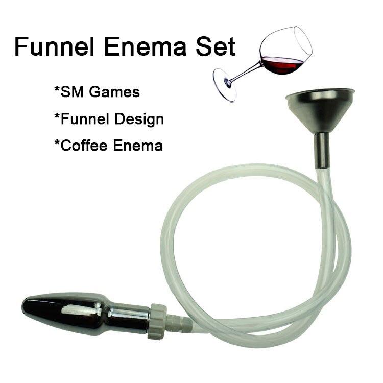 Metal Funnel Enema Anal Cleaning Kit SM Sex Toys for Men Woman Adult Games Vaginal Butt Plug Shower Head Fluid Syringe Device